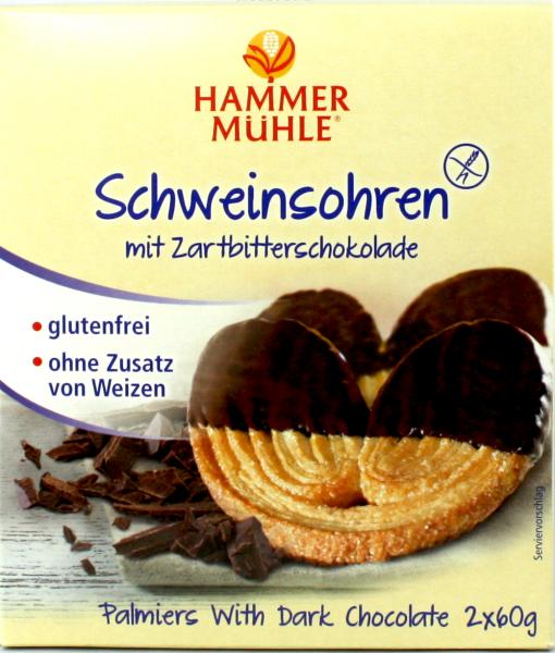 Schweinsohren in Zartbitterschokolade
